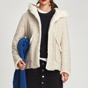 ZARA Wool Short Contrast Coat with Hood -Size S